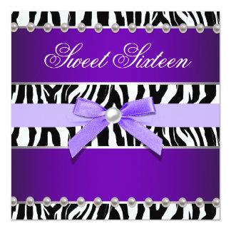 Purple Zebra Sweet 16 Birthday Party Card