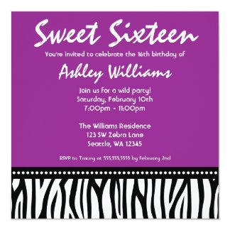 Purple Zebra Sweet 16 Card