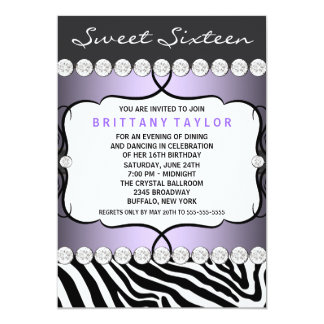 Purple Zebra Sweet Sixteen Birthday Party 13 Cm X 18 Cm Invitation Card