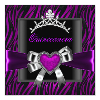 Purple Zebra Tiara Quinceanera 15th Birthday Party Card