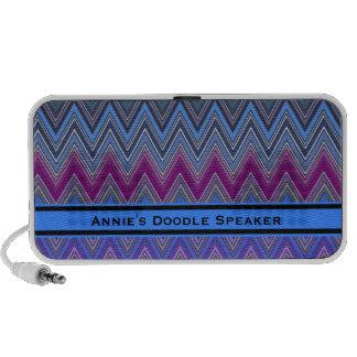 Purple Zig Zag Doodle Speaker w Custom Text
