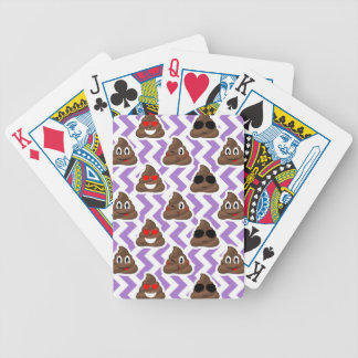 Purple Zig Zagged Poop Emoji Pattern Bicycle Playing Cards
