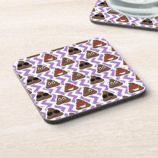 Purple Zig Zagged Poop Emoji Pattern Coaster