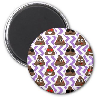 Purple Zig Zagged Poop Emoji Pattern Magnet