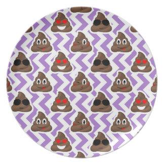 Purple Zig Zagged Poop Emoji Pattern Plate
