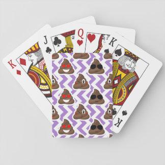 Purple Zig Zagged Poop Emoji Pattern Playing Cards