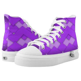Purple Zigzag Design Printed Shoes
