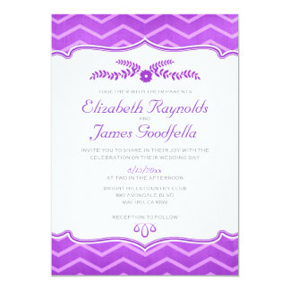 Purple Zigzag Wedding Invitations