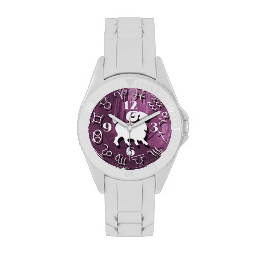 Purple Zodiac Abstract Aries Watch for Women