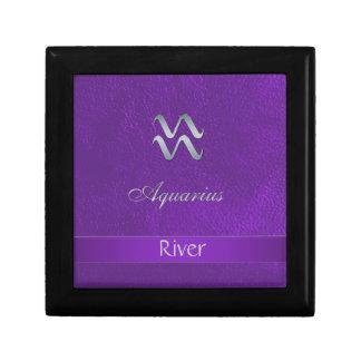 Purple Zodiac Sign Aquarius Small Square Gift Box