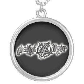 PurpleBlaZe Amethyst Wynter metal logo necklace