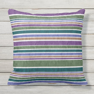 PURPLES AND GREENS TEXTURED STRIPE throw cushion
