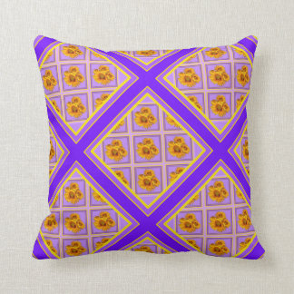 Purple's Patterned Lattice Floral Reversible Throw Pillow