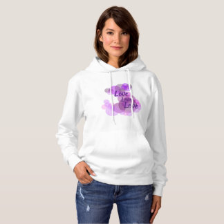 Purples & pinks circles with Love in a hoodie