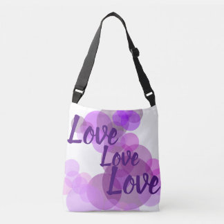 Purples & pinks circles with Love in a tote bag