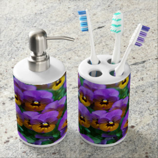 Purpley Pansy - Toothbrush & Soap Dispenser Set