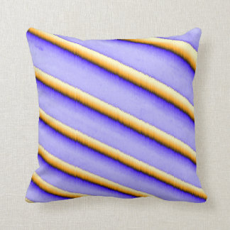 Purplish Throw Pillow with Fuzzy Goldish Stripes