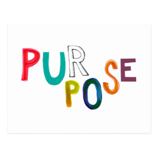 Purpose meaning use identity fun colorful word art postcard