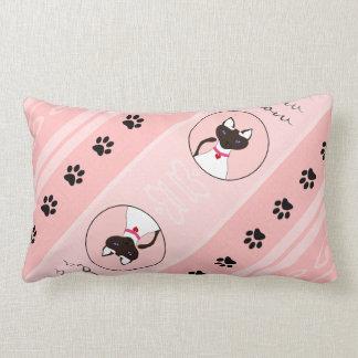 Purr-fect Moira Pink Pillow Lumbar Diagonal Cushions