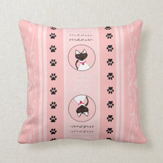 Purr-fect Moira Pink Stripe Pillow Square Throw Cushion