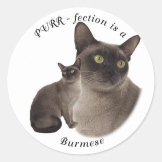 PURR-fection Chocolate Burmese Classic Round Sticker
