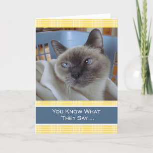 Purrfect Birthday Wishes Siamese Cat In Basket Card