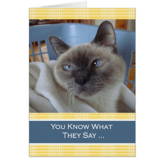 Purrfect Birthday Wishes, Siamese Cat in Basket Card