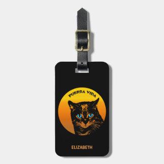 Purring Cat And Sun Purrra Vida Pure Life Cool Luggage Tag