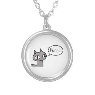 Purring Cat Silver Plated Necklace