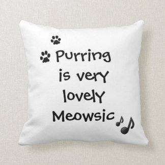 Purring Lovely Meowsic Music Funny Pillow Cushion
