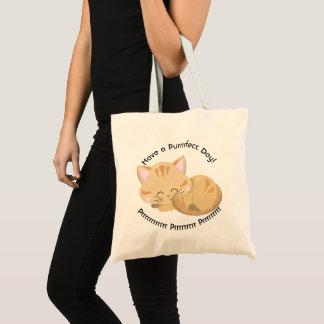 Purring Sleeping Tan Tabby Kitten Tote Bag
