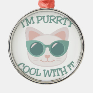 Purrty Cool Silver-Colored Round Decoration