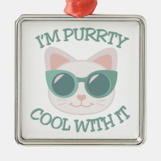 Purrty Cool Silver-Colored Square Decoration