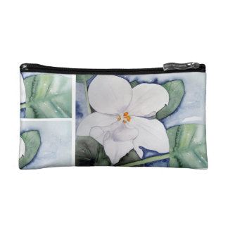 Purse make-up with watercolor of African violet