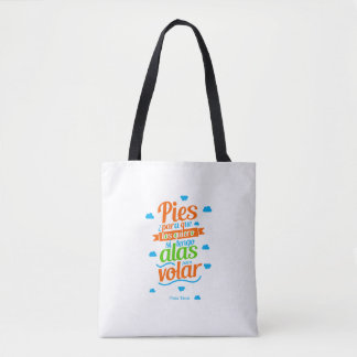 purse with motivational message feet tote bag