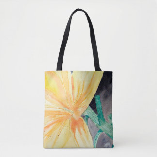Purse with watercolor of yellow iris tote bag