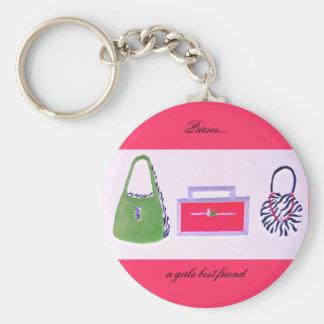 Purses...a girls best friend basic round button key ring