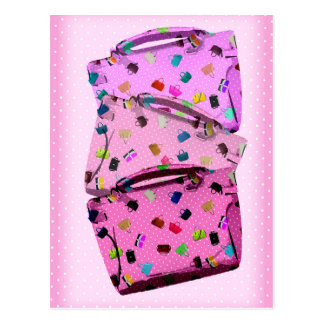 Purses, Polka Dots and Pink Background Postcard