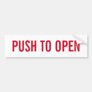 Push to open door sign on durable vinyl sticker