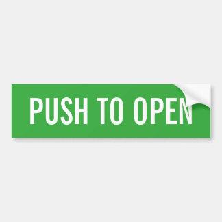 Push to open exit door sign on vinyl sticker