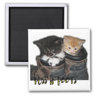 Puss In Boots Kittens Photograph Magnet