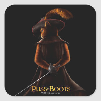 Puss In Boots Poster Blk Square Sticker