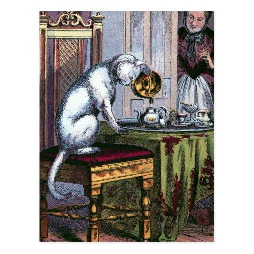 """""""Puss Making Tea"""" Vintage Illustration Postcard"""