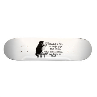 Pussy Can Read Funny Cat Skate Board