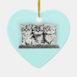 Pussy Cats Ceramic Heart Decoration