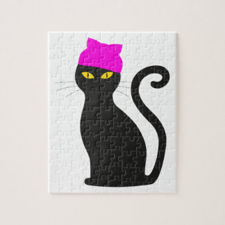 Pussy Hat Cat Jigsaw Puzzle