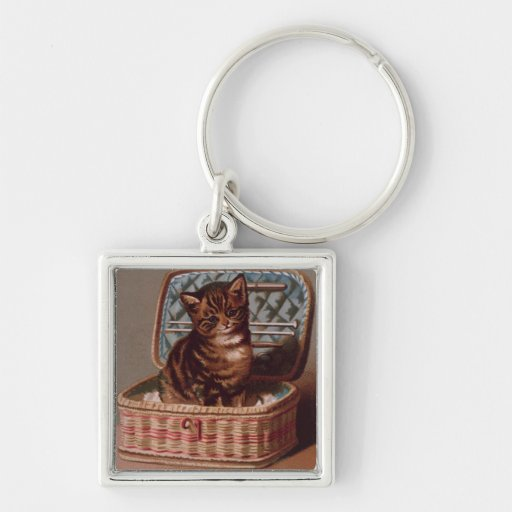 Pussy in the Workbasket Keychains