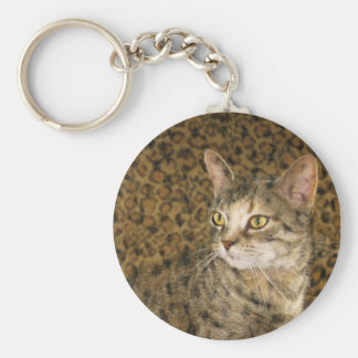 Pussy on the Wild Side Basic Round Button Key Ring