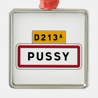 Pussy, Road Sign, France Christmas Tree Ornament