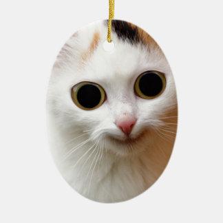 Pussy white  Cat Ceramic Oval Decoration